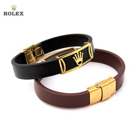 دستبند چرم با پلاک استیل نماد رولکس