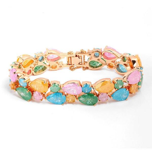 دستبند زنانه با سنگ رنگی