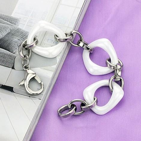 دستبند سرامیکی با زنجیر استیل