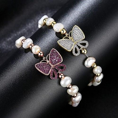 دستبند پروانه با مروارید طبیعی