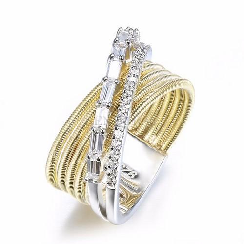 انگشتر ۲ رنگ طلایی نقرهای