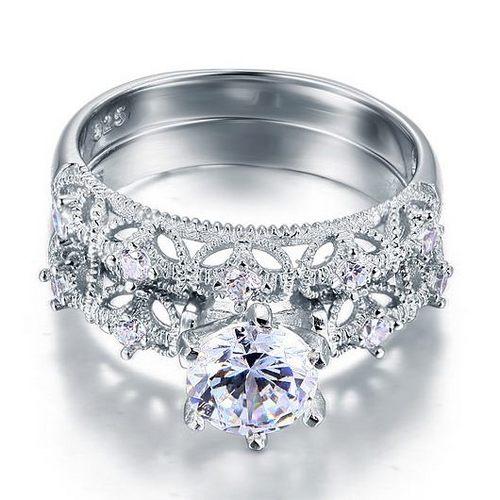 انگشتر نقره شبیه سازی الماس