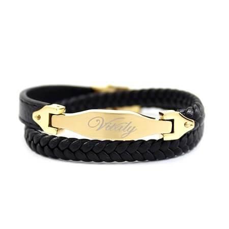 دستبند چرمی طرح لاکچری