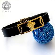 دستبند چرم و استیل طرح Versace