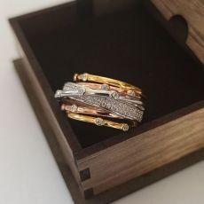 انگشتر سه رنگ طلایی، نقرهای، رزگلد
