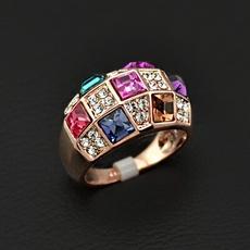 انگشتر زنانه کریستالهای رنگی اتریشی